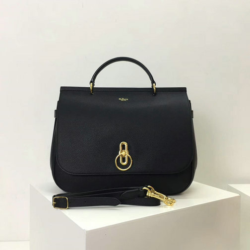 2017 Cheap Mulberry Large Amberley Satchel Black Grain Leather