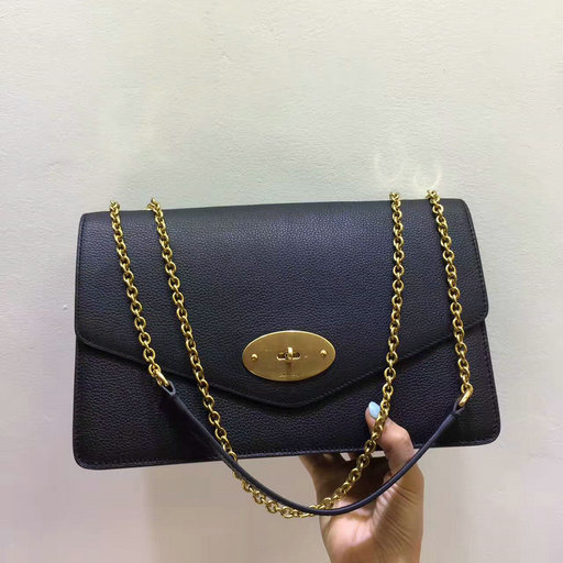 2017 Cheap Mulberry Large Darley Bag in Black Grain Leather