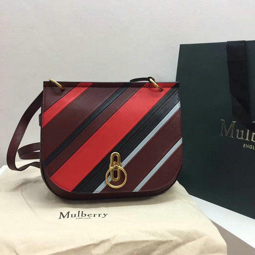 2017 Cheap Mulberry Amberley Satchel Multicolor Diagonal Striped Leather