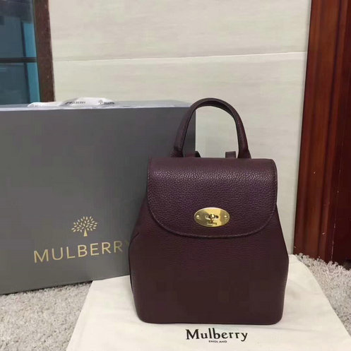 2017 A/W Mulberry Mini Bayswater Backpack in Oxblood Grain Leather