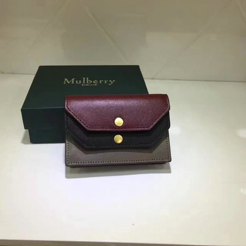 2017 Cheap Mulberry Multiflap Card Case Crimson,Black & Clay Smooth Calf