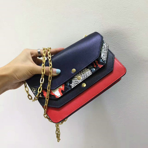2017 Cheap Mulberry Multiflap Clutch Multicolour Snakeskin with Midnight & Fiery Red Smooth Calf