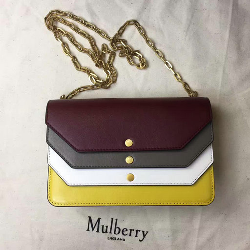 2017 Cheap Mulberry Multiflap Clutch Crimson,Clay,Chalk & Sunflower Smooth Calf