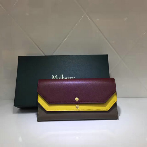2017 Cheap Mulberry Multiflap Wallet Crimson,Sunflower & Clay Smooth Calf