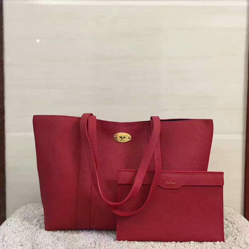 2017 Cheap Mulberry Bayswater Shopping Tote Red Small Classic Grain