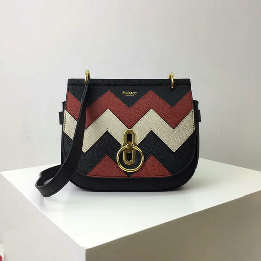 2017 Cheap Mulberry Small Amberley Satchel Black,Rust & Chalk Zig Zag Small Classic Grain