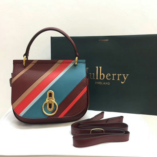 2017 Cheap Mulberry Small Amberley Satchel Multicolor Diagonal Striped Leather