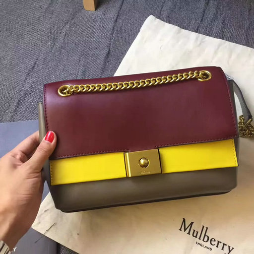 2017 Cheap Mulberry Small Cheyne Oxblood, Sunflower & Clay Smooth Calf