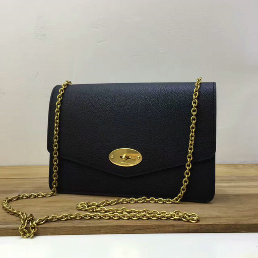 2017 Cheap Mulberry Small Darley Bag in Black Grain Leather