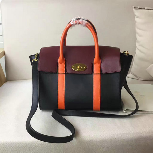 2017 Cheap Mulberry Small New Bayswater Black,Burgundy & Orange Smooth Calf