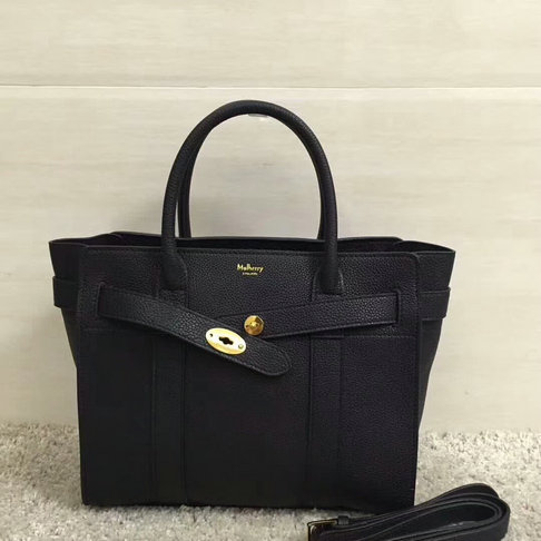 2017 S/S Mulberry Small Zipped Bayswater Tote in Black Small Classic Grain