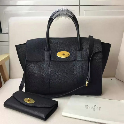 2017 S/S Mulberry Bayswater with Strap Black Grain Leather