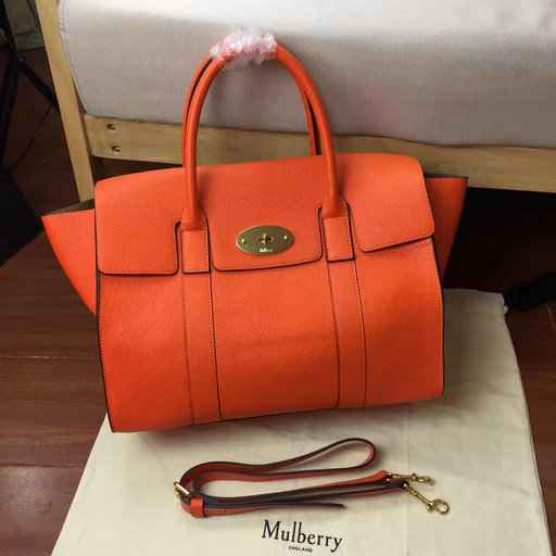 0832993b0040 2017 Cheap Mulberry Bayswater with Strap Bright Orange Small Classic Grain