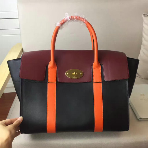 2017 Cheap Mulberry Bayswater with Strap Black,Burgundy & Orange Smooth Calf