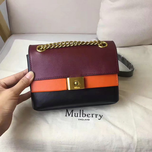 2017 Cheap Mulberry Mini Cheyne Oxblood,Bright Orange & Black Smooth Calf