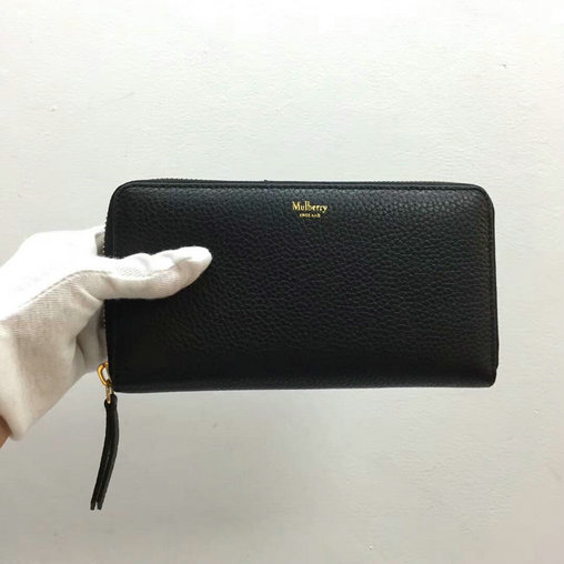 2017 Mulberry Zip Around Wallet in Black Small Classic Grain