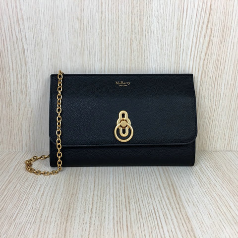 2018 Mulberry Amberley Long Clutch Black Grain Leather