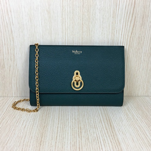 2018 Mulberry Amberley Long Clutch Green Grain Leather