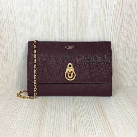 2018 Mulberry Amberley Long Clutch Oxblood Grain Leather