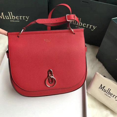 2018 Cheap Mulberry Amberley Satchel Red Grain Leather