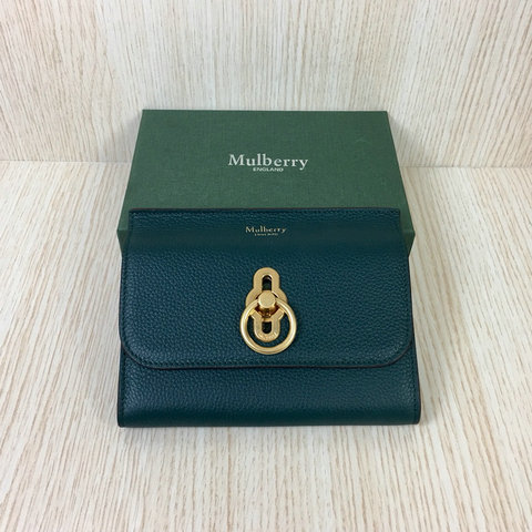 2018 Mulberry Amberley Medium Wallet Green Grain Leather