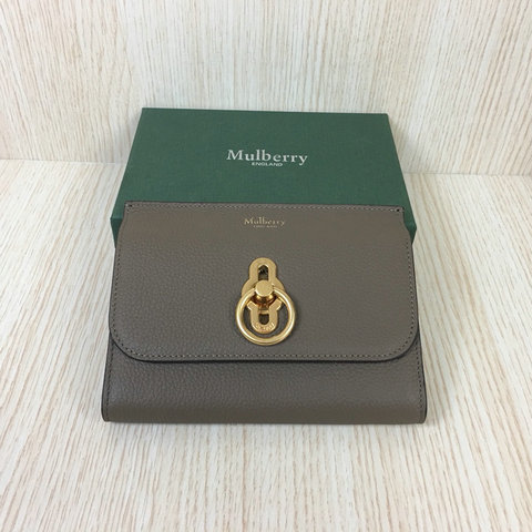2018 Mulberry Amberley Medium Wallet Clay Grain Leather