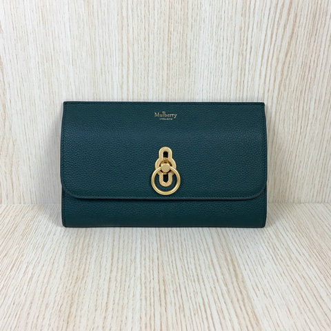 2018 Mulberry Amberley Long Wallet Green Grain Leather