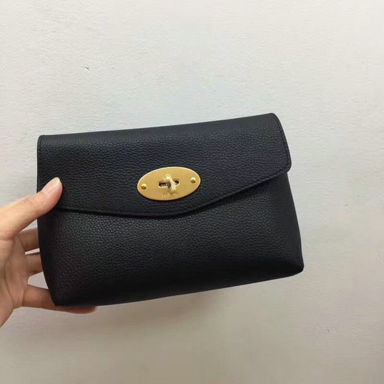 2018 Mulberry Darley Cosmetic Pouch in Black Small Classic Grain