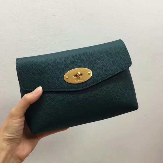 2018 Mulberry Darley Cosmetic Pouch in Ocean Green Small Classic Grain