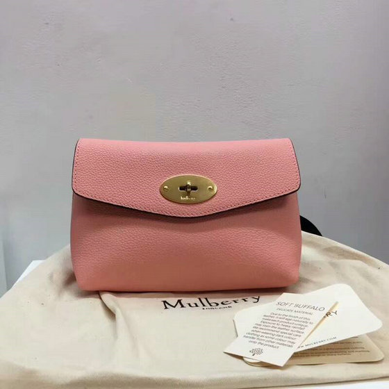 2018 Mulberry Darley Cosmetic Pouch in Pink Small Classic Grain