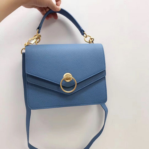 2018 Mulberry Harlow Satchel Blue Small Classic Grain