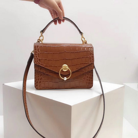 2018 Mulberry Harlow Satchel Tobacco Brown Croc Print