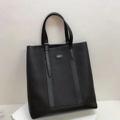 2018 Men's Mulberry Heritage Tote Black Natural Grain Leather