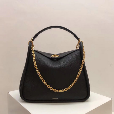 2018 Mulberry Leighton Bag in Black Small Classic Grain Leather