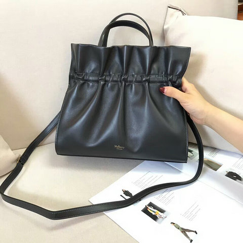 2018 Mulberry Lynton Bag in Charcoal Grey Leather