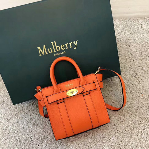 2018 Mulberry Micro Zipped Bayswater Bag in Small Classic Grain