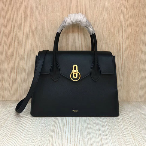 2018 S/S Mulberry Seaton Bag in Black Small Classic Grain Leather
