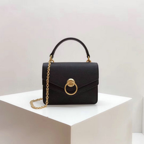 2018 Mulberry Small Harlow Satchel Black Classic Grain Leather
