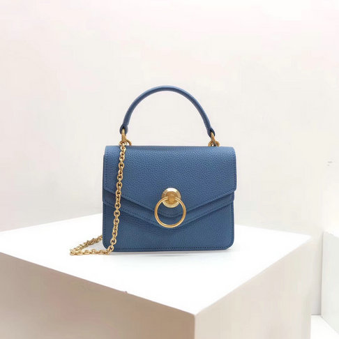 2018 Mulberry Small Harlow Satchel Blue Classic Grain Leather