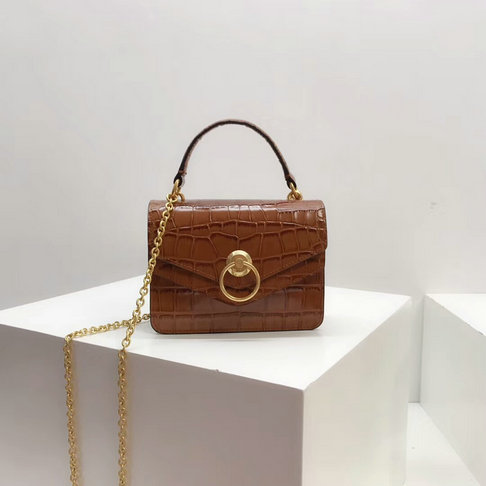 2018 Mulberry Small Harlow Satchel Tobacco Brown Croc Print