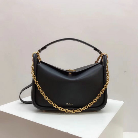 2018 Mulberry Small Leighton Bag in Midnight Silky Calf Leather