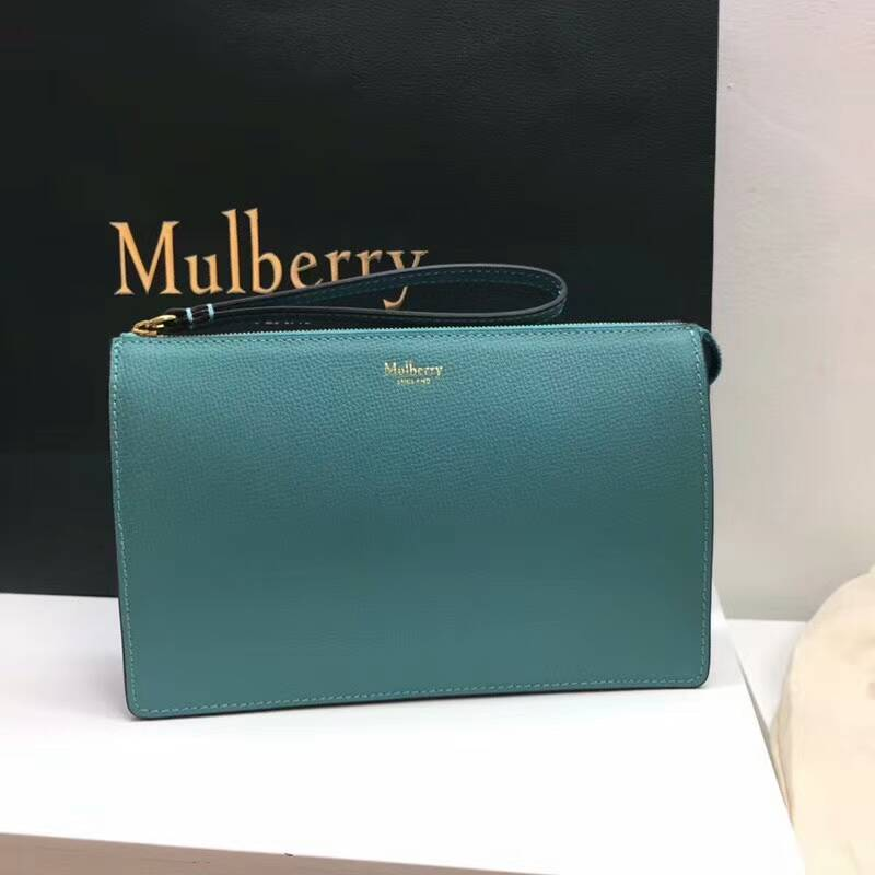 2018 Mulberry Zip Pouch in Antique Blue Cross Grain Leather