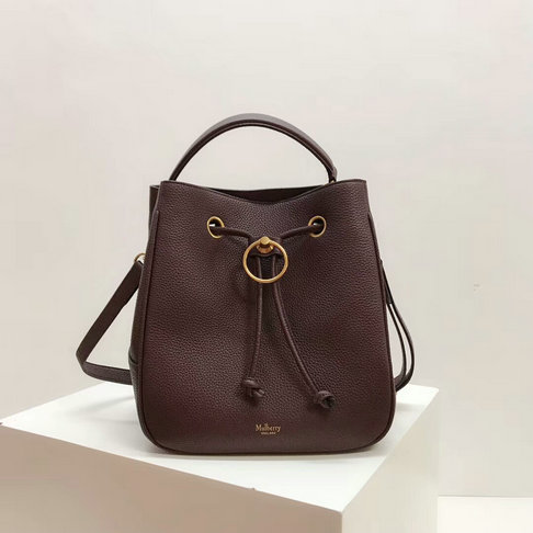 2019 Mulberry Hampstead Bucket Bag Burgundy Grain Leather