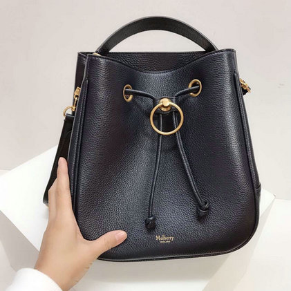 2019 Mulberry Hampstead Bucket Bag Midnight Grain Leather