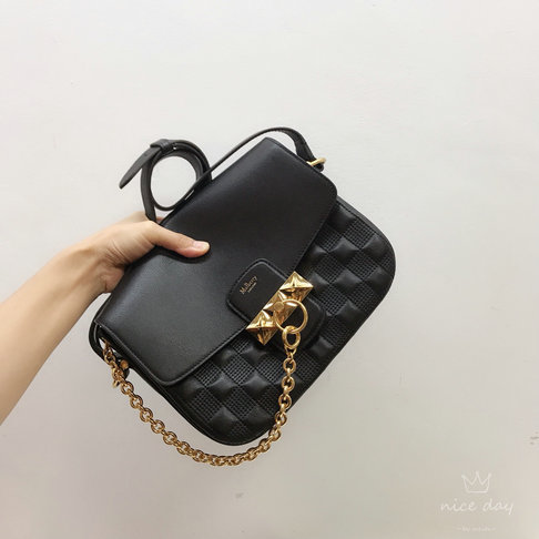 2019 Mulberry Keeley Satchel Black Quilted Silky Calf Leather