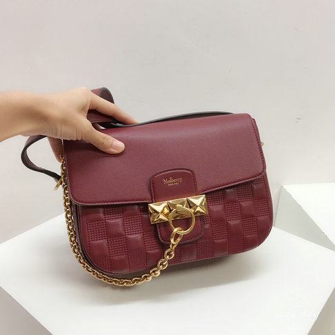 2019 Mulberry Keeley Satchel Crimson Quilted Silky Calf Leather