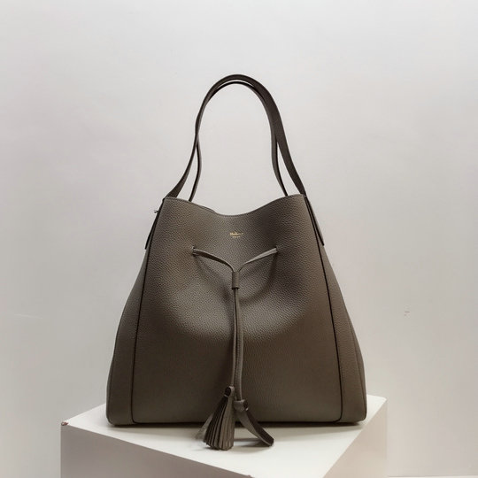 2019 Mulberry Millie Tote Solid Grey Heavy Grain Leather