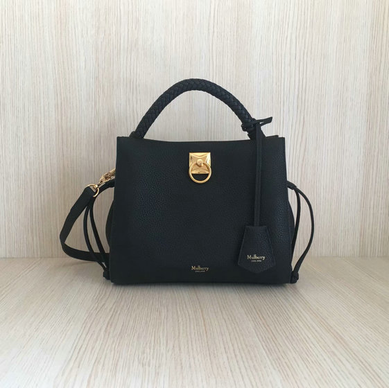 2020 Mulberry Small Iris Bag in Black Grain Leather