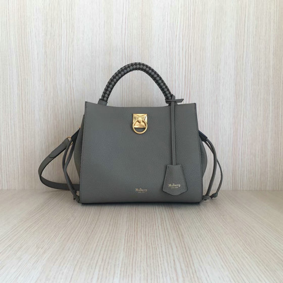 2020 Mulberry Small Iris Bag in Grey Grain Leather