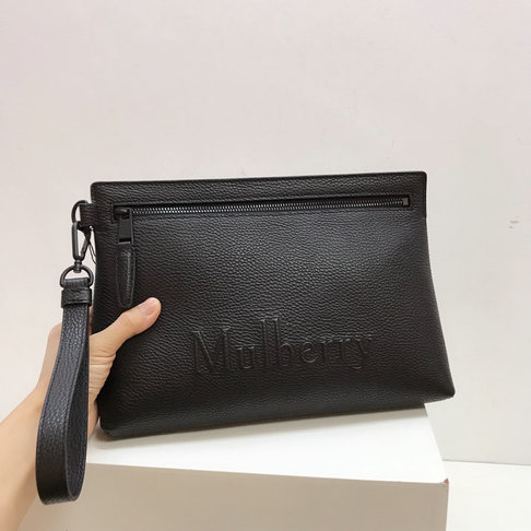 2019 Mulberry Soft Zipped Pouch Black Grain Leather